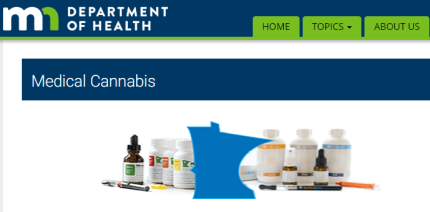 Screenshot of Medical Cannabis page of MN Department of Health website