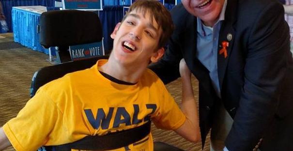 Justin with Tim Walz
