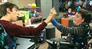 Justin and Roa giving each other high five