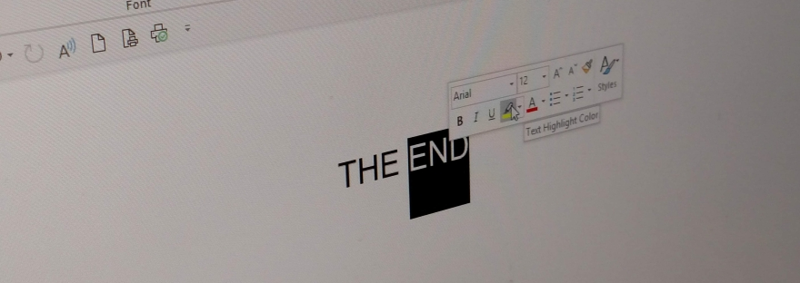 Screenshot of Word doc that says The End Page 158 of 158