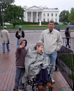 11-year old Justin with younger brother and dad, White House in background