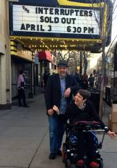 Justin and dad in front of theater marquis for sold out Interrupters April 3