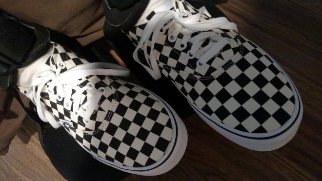 Black and white checked Van tennies