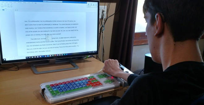 Justin at computer