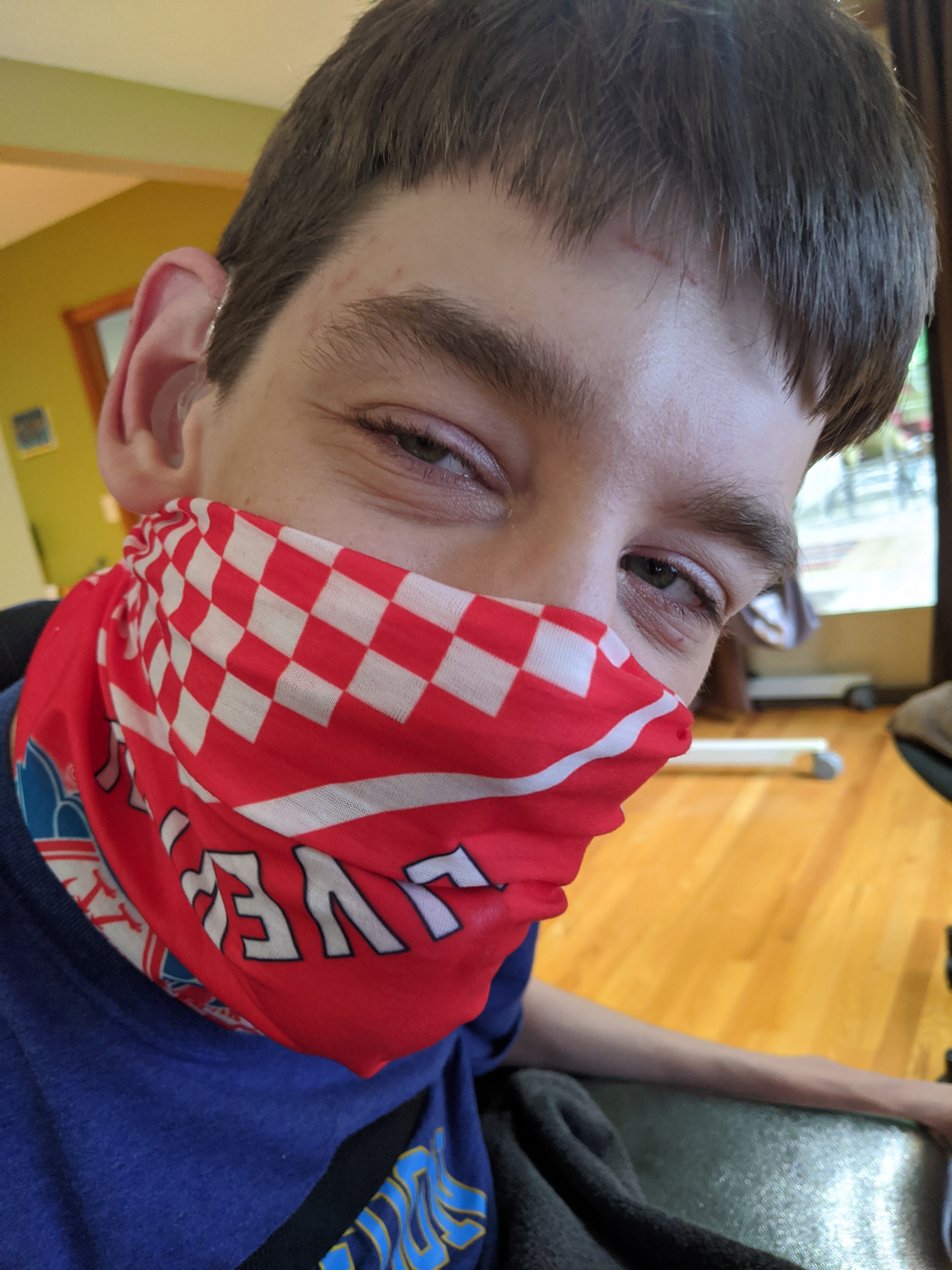 Justin with Liverpool soccer mask