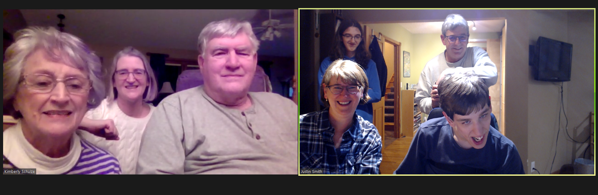 Zoom call screenshot with grandparents and aunt, and Justin with mom, dad, and brother