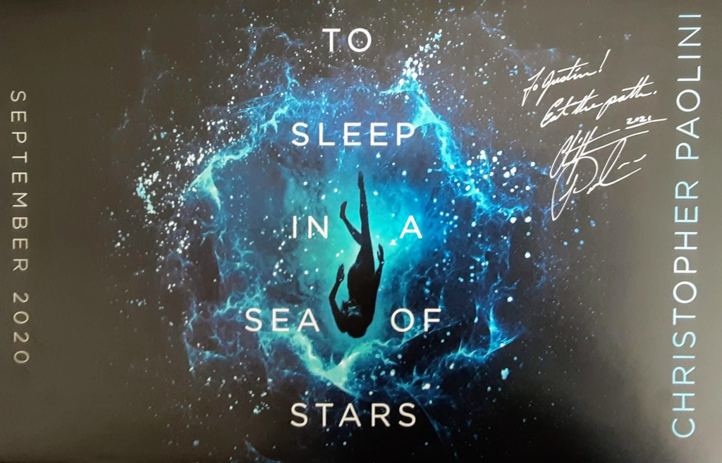 """To Sleep in a Sea of Stars poster, autographed """"To Justin, Eat the path"""" Christopher Paolini"""