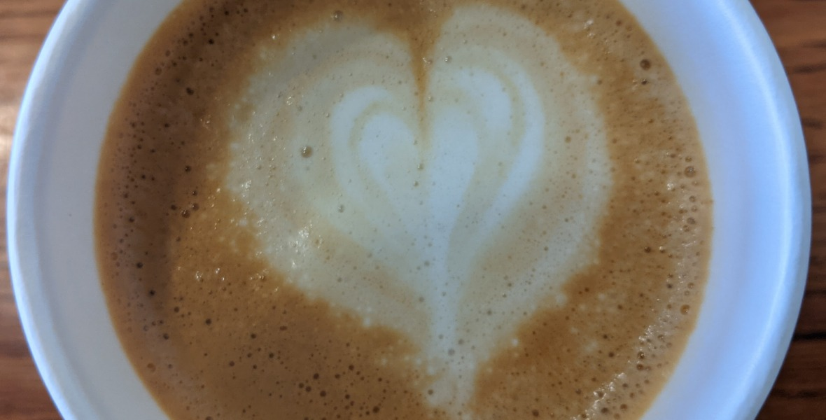 Cappuccino froth with heart design
