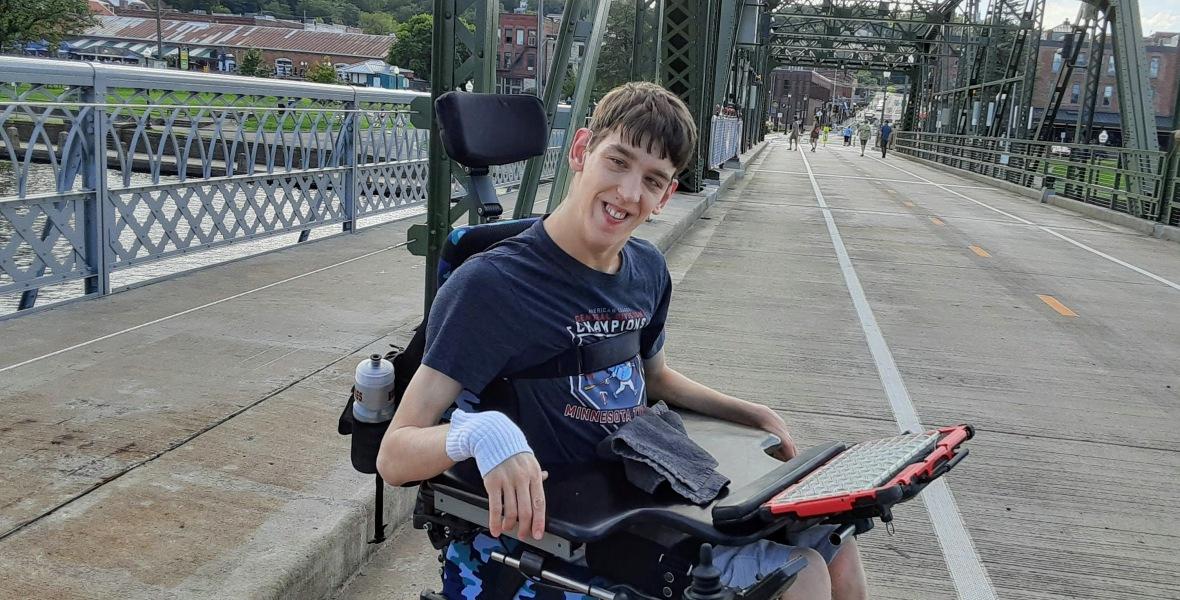 Justin in wheelchair on Stillwater Lift Bridge
